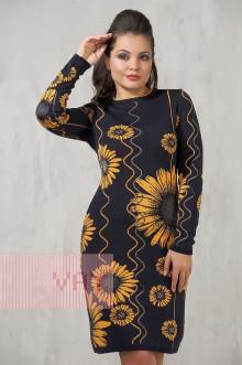 Платье женское 2210 Фемина (Мокрый асфальт/темно-бежевый/золотой улей/темный маренго)